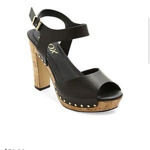 Xoxo Mindy platform sandals black 70s cork heels